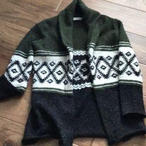 Black/ivory/green cardigan